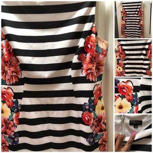 Black and floral sleeveless Tahari dress size 14